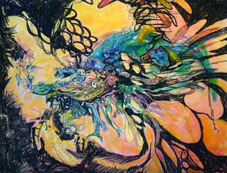 Erin Treacy Bring On the Color Conte, Marker, Acrylic Paint on Paper