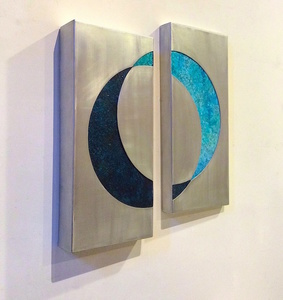 Exhibit 208 KX2: Ruth Avra & Dana Kleinman 3D aluminum construction with oil on wood