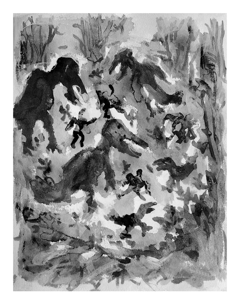 Works On Paper Study Russell's Yard Birds Black & White