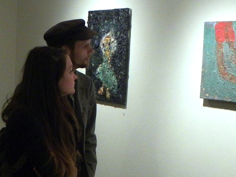 FB @ John Davis Gallery 2015 and 2012 Couple Viewing Muse and Ashore III