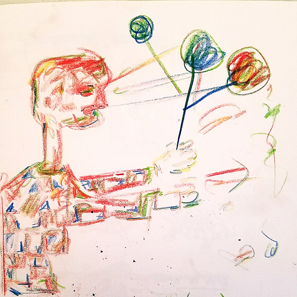 Works On Paper Boy With Balloons