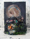 Paint Piles  oil paint and found canvas