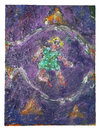 Painting oil, Art Guerra Grape pigment, glitter on canvas.