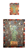 Painting oil, glitter on canvas diptych