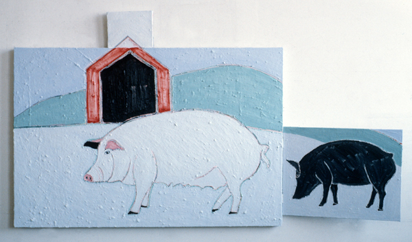 ANIMALS Two Pigs (three sections, right section hinged)