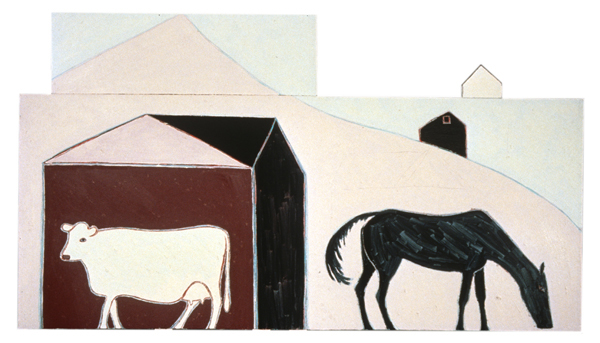 ANIMALS Cow and Horse (shaped painting, three sections)