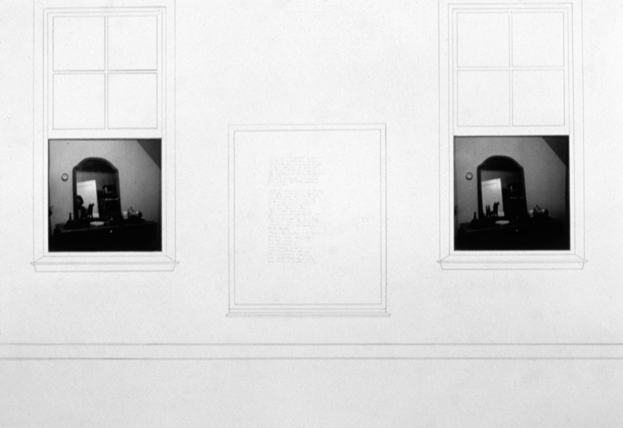 P. S.1:  (1976–1978) PHOTOGRAPHY/DRAWING/DIARY Self-Portrait I (Mirror Image and Diary Entry):  Presence/Absence