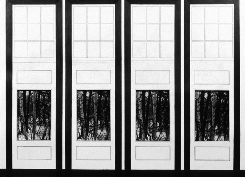 P. S.1:  (1976–1978) PHOTOGRAPHY/DRAWING/DIARY Four Doors and Birch Trees