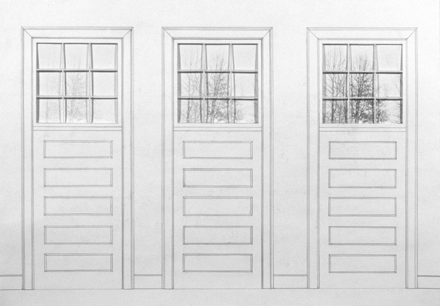 P. S.1:  (1976–1978) PHOTOGRAPHY/DRAWING/DIARY Studio at P. S. 1, Three Doors, Three Windows