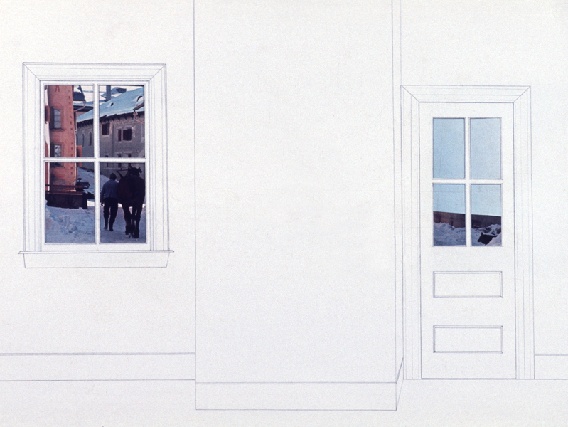 P. S.1:  (1976–1978) PHOTOGRAPHY/DRAWING/DIARY Door and Window (Swiss):  Here/There