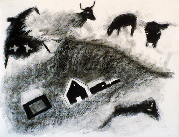 SIXTY-SIX DRAWINGS 1980's Sketches: House, Barns, Cattle & Mountain