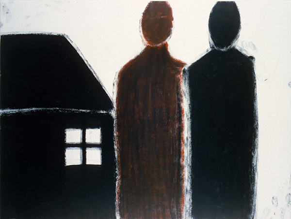 SIXTY-SIX DRAWINGS 1980's Two Figures & a House