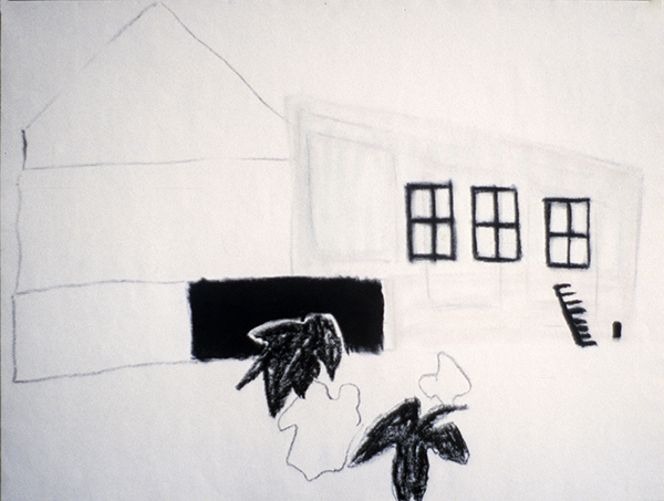 SIXTY-SIX DRAWINGS 1980's Barn with Three Windows & Plants