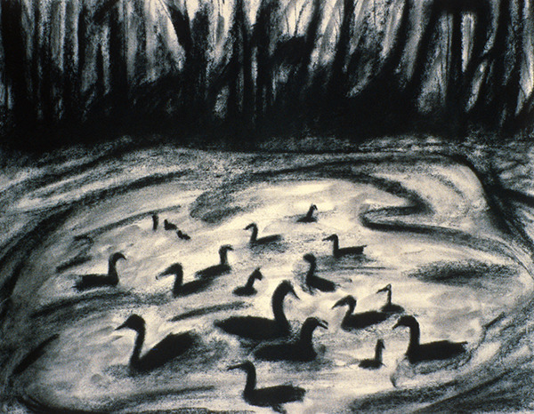 SIXTY-SIX DRAWINGS 1980's The Evening Flock of Ducks