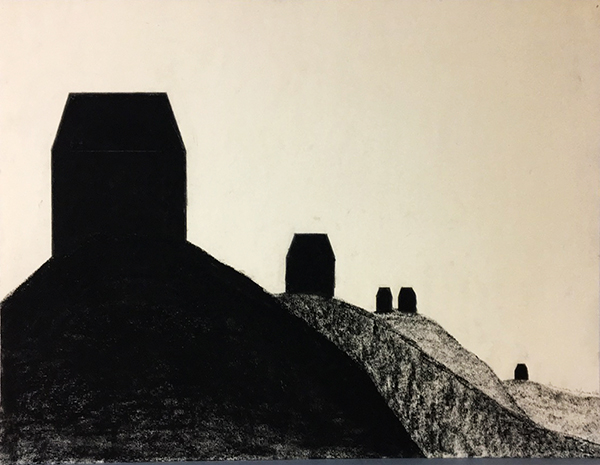 SIXTY-SIX DRAWINGS 1980's Receding Hills with Five Houses