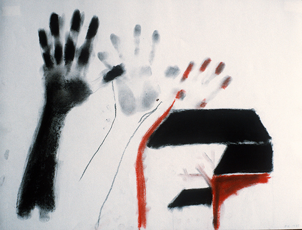 SIXTY-SIX DRAWINGS 1980's Hand Print Series: Three Hands & a Barn