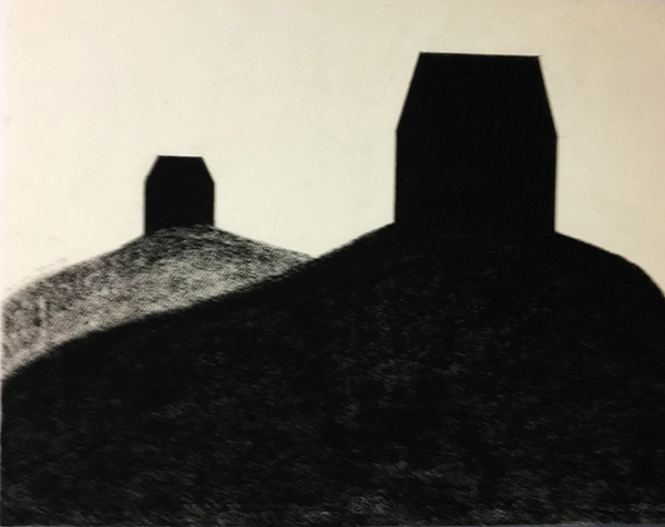 SIXTY-SIX DRAWINGS 1980's Receding Hills with Two Houses