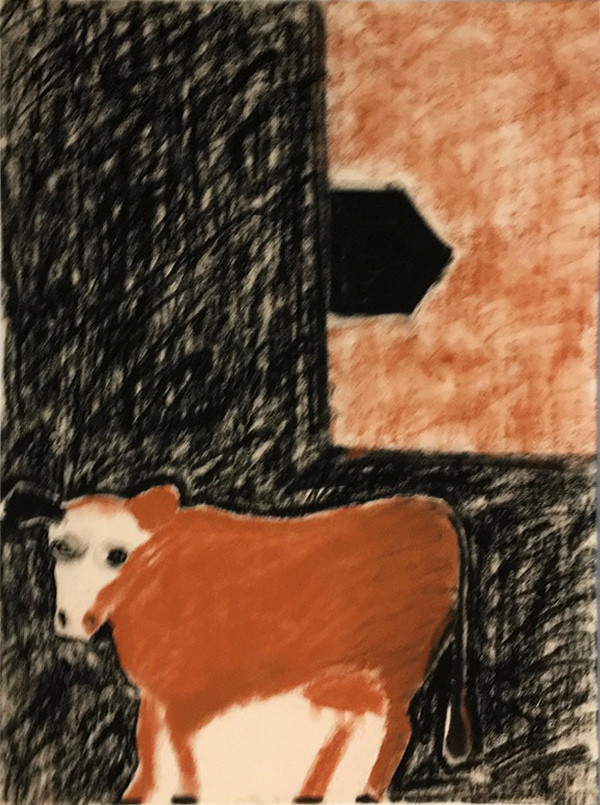 SIXTY-SIX DRAWINGS 1980's Sweet Red Cow & Window View
