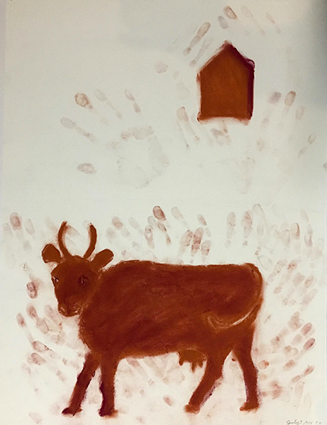 SIXTY-SIX DRAWINGS 1980's The Red Cow (with House & Fingerprints)