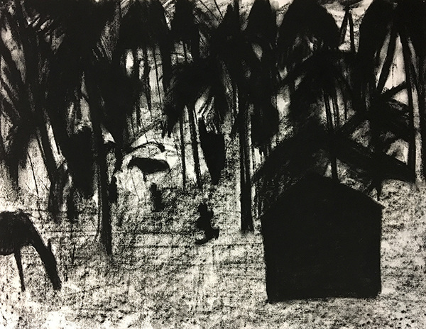 SIXTY-SIX DRAWINGS 1980's Edge of Woods