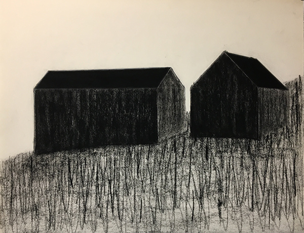 SIXTY-SIX DRAWINGS 1980's Two Barns, Perspective