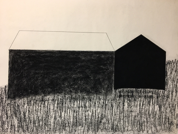 SIXTY-SIX DRAWINGS 1980's Two Barns