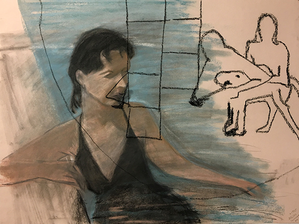 SIXTY-SIX DRAWINGS 1980's Layers of Time: Bather, Two Figures & a Dog