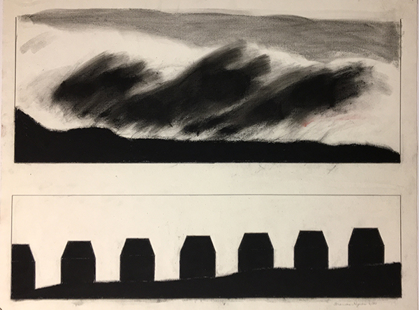 SIXTY-SIX DRAWINGS 1980's Double Hill Series: Seven Houses & Clouds