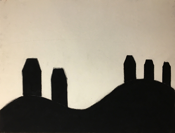 SIXTY-SIX DRAWINGS 1980's Hills Series: Five Tall Houses