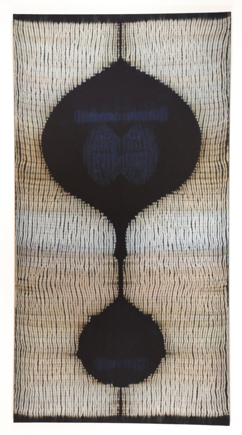 Frank Connet New Work Indigo and walnut dyes on wool using shibori sewn resist. Mounted on stretcher.