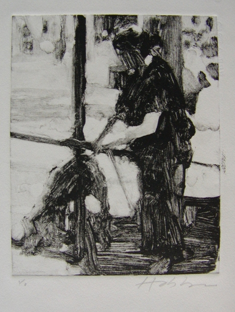 MONOTYPES Woman Walking a Dog