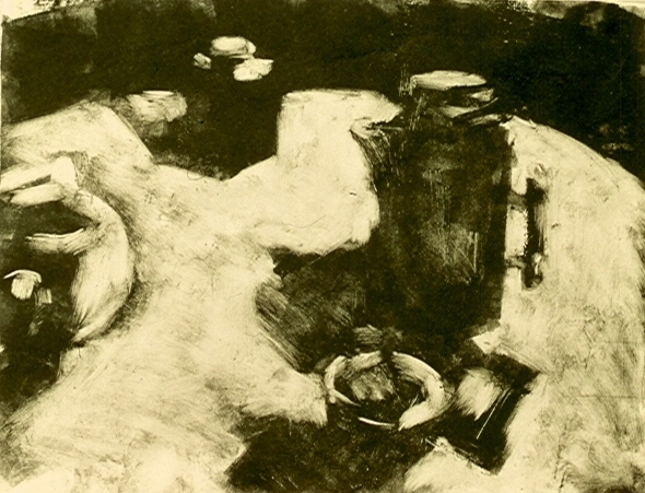 MONOTYPES Still-life on a Round Table