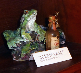 Fred Adell - Wildlife Artist Frogs Mixed media sculpture (fired clay, paper-mache, acrylic paint, brandy bottle