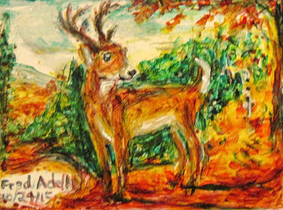 Fred Adell - Wildlife Artist Deer paintd glass