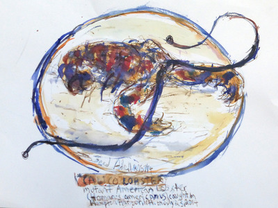 Fred Adell - Wildlife Artist Crustaceans Mixed Media (Ink, watercolor, tempera), watercolor paper