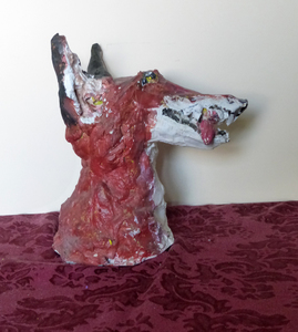 Fred Adell - Wildlife Artist Dogs (wild) Mixed Media (Fired clay, paper-mache, acrylic paint)
