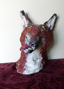 Fred Adell - Wildlife Artist Dogs (wild) and Wolves Mixed Media (Fired clay, paper-mache, acrylic paint)