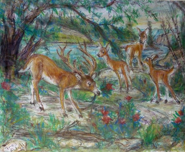 Fred Adell - Wildlife Artist Deer mixed media (ink, watercolor, tempera, oil pastel)