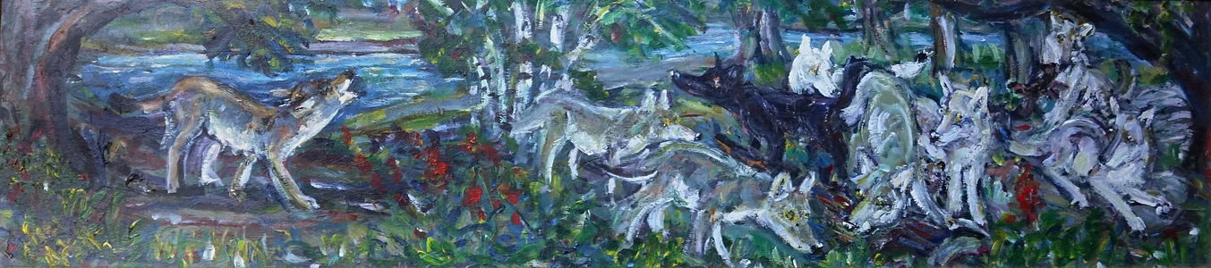 Fred Adell - Wildlife Artist Dogs (wild) and Wolves Acrylic on masonite board