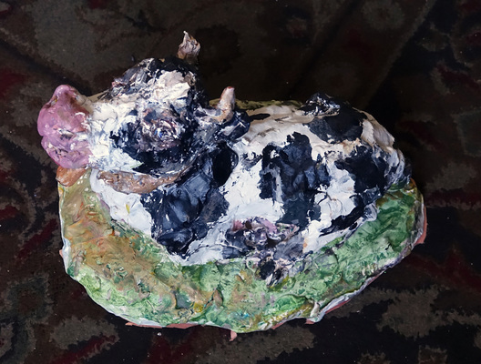 Fred Adell - Wildlife Artist Cattle Sculpture (fired clay, paper-mache, acrylic)