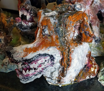 Fred Adell - Wildlife Artist Dogs - Domesticated  Sculpture bust (fired clay, paper-mache, acrylic)