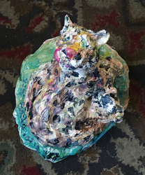 Fred Adell - Wildlife Artist Cats (wild) sculpture (fired clay, paper-mache, acrylic)