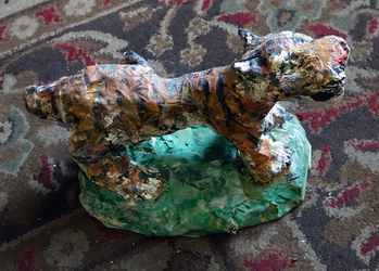 Fred Adell - Wildlife Artist Cats (wild) sculpture (fired clay, paper mache, acrylic)