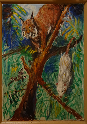 Fred Adell - Wildlife Artist Cats (wild) Acrylic on wood panel