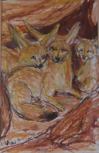 Fred Adell - Wildlife Artist Dogs (wild) and Wolves Mixed media (ink, watercolor, tempera) on watercolor paper