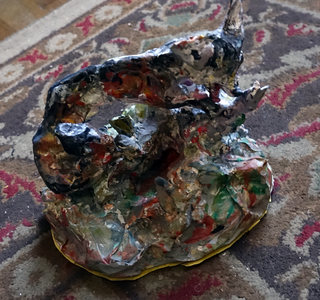 Fred Adell - Wildlife Artist Dogs (wild) and Wolves sculpture (fired clay, paper mache, acrylic)