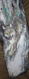 Fred Adell - Wildlife Artist Dogs (wild) and Wolves Acrylic on jeans