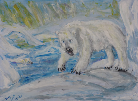 Fred Adell - Wildlife Artist Bears Mixed media (ink, tempera) on illustration board