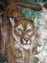 Fred Adell - Wildlife Artist Cats (wild) Mixed media (ink, tempera) on watercolor paper