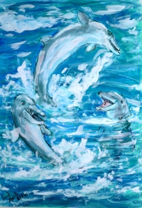 Fred Adell - Wildlife Artist Mammals - Cetaceans (whales, dolphins, porpoises) mixed media (colored inks, gouache)